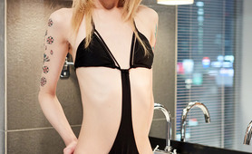 Blonde japanese shemale in bathing suit