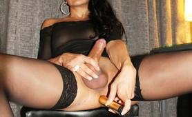 Big dick ts in sheer lingerie