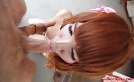 Redhead ladyboy Waii blowjob